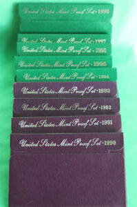1990 S - 1998 S Nine Annual United States Mint Proof Sets 45 Coins Complete Sets