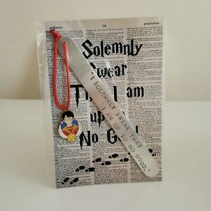 HANDMADE BOOKMARK HAND STAMPED FRIEND HARRY POTTER SOLEMNLY UP TO NO GOOD GIFT H