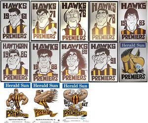 1961 - 2015 Hawthorn Weg Knight premiers posters X13 Hawks Pemiership Poster