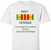 USS EVERETT F.LARSON DD-830*SOUTH VIETNAM*VIETNAM VETERAN RIBBON1959-1975 SHIRT