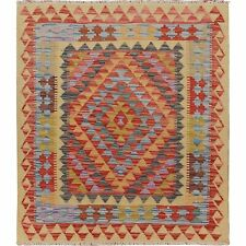 3'x3' Reversible Afghan Kilim Flat Weave Pure Wool Hand Woven Square Rug R57550