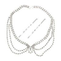 Wedding Bridal Hair Jewellery Frontlet Forehead Chain with Hairpins F3C8