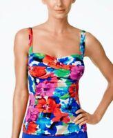 Swim Solutions Women's Tummy Control Floral Tankini Swim Top Size 18 Extra Large