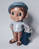 Vintage 1970's Atlantic Mold Golf Player Boy W/ Clubs Ceramic Figure Blue/Brown