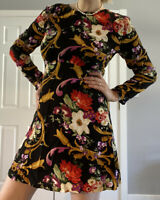 & Other Stories Dress Size 16 Black Floral Print FREE POSTAGE