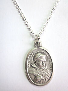 """Ladies St Albert the Great Medal Pendant Necklace 20"""" Chain Gift Box Prayer Card"""