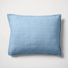 CASALUNA Heavyweight Linen Blend Quilted Pillow Sham Sky Blue Standard nwop