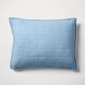 CASALUNA Pillow Sham Heavyweight Linen Blend Quilted  Sky Blue Standard nwop