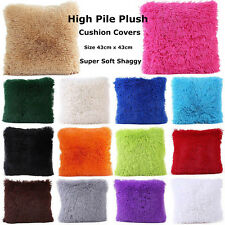 Long Pile Soft Shaggy Plush Cushion Covers Plain Colours Fluffy Cuddly Home Deco