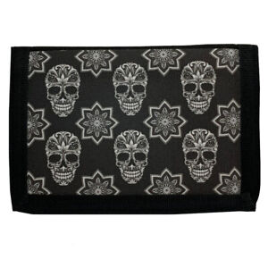 Men's Black Trifold Wallet with Black and White Sugar Skull Print on Front
