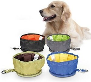 "Dog Travel Bowl 7.5"" diameter x 3 3/4"" high Blk Blue Grey Green Zipper CLEARANCE"
