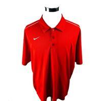 Nike Dri-Fit Red Short Sleeve Golf Polo Shirt Mens XXL 2XL