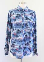 J Crew Camp Popover Shirt in Hawaiian Sunset Print Size 6 Blue Palm Tree Blouse