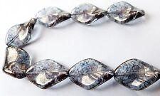 19 (mm) CZECH GLASS TWISTED DIAMOND SHAPED OBLONG BEADS - (10pcs)