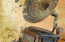 Incorniciato stampa retrò vintage-old GRAMOFON (Musica Grammofono Foto Poster Art)