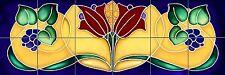 Art Nouveau Grapes Art Tile Mural Blue Deco Backsplash Back Splash Ceramic Tiles