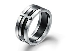 5pcs Wholesale Black Ring stainless steel Jewelry Wide Cool Cross Rings FREE
