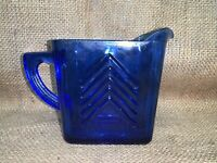 Vintage c1930 HAZEL ATLAS Cobalt Blue Creamer CHEVRON PATTERN Depression Glass
