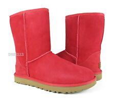 UGG Classic Short II Lipstick Red Suede Fur Boots Womens Size 8 *NIB*