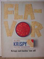 1963 Sunshine Krispy Saltine Crackers w/ Soup Ad Vintage Print Ad 10498