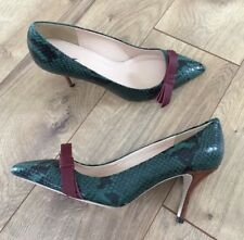 c123e40fab3e0c JCrew  288 Colette Bow Pump Snakeskin Printed Leather 7 Deep Jade F7989 NEW