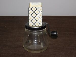 """VINTAGE KITCHEN ANDROCK USA 6"""" HIGH GLASS JAR CHEESE GRATER"""