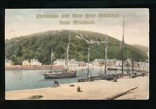 Somerset MINEHEAD Harbour Used 1908 Christmas Greetings gold overprint PPC fault