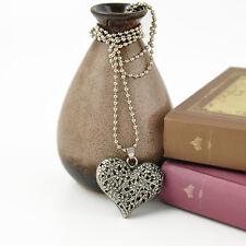 Charm Carved Vintage Silver Tone Heart Shape Pendant Necklace Long Chain JT12