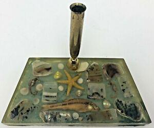 Vintage Desk Top Pen Holder Vomit Resin Encased Fish Starfish Seahorse Seashells