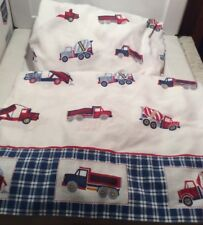 Truck Boys Twin Bed Sheet 3 pc. Set Flat, Fitted & Pillowcase Red/White/Blue