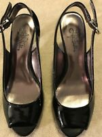 Life Stride Black Patent Sling-back women's shoes with buckle Size 6 1/2 M