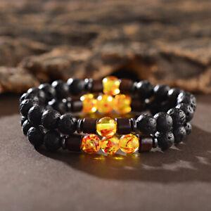 2Pcs/set Men Natural Stone Bracelets Lava Wooden Bead Women Couples Bracelets