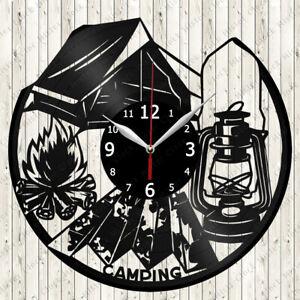 Camping Vinyl Record Wall Clock Decor Handmade 6146