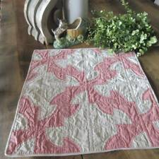 Lovely Vintage Pink & Cream Table or Doll Quilt 18x18 Cottage or Farmhouse