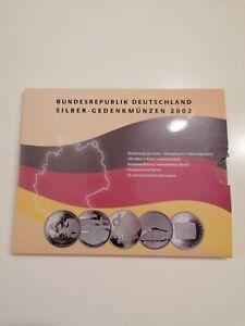 10 Euro Gedenkmünzen Set Silber BRD 2002 in PP