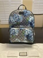 New Authentic Gucci Blooms GG Supreme Leather Backpack Medium