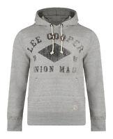 Lee Cooper New Men's Hooded Sweatshirt Tadworth Fleece Hoodie Top Dove Marl Grey