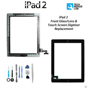 NEW iPad 2 Complete Front Glass/Digitiser Touch Screen Assembly with Tools BLACK