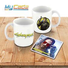 Cyberpunk 2077 Game Inspired Ceramic Mug and Keanu Reeves Plastic Coaster Set