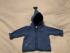 Nwot Hanna Andersson Blue Quilted Hooded Jacket w/ Applique Cow and Rooster Size