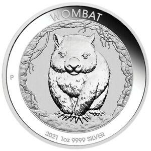 2021 Perth Mint Australia WOMBAT .9999 Fine Silver 1 oz bu coin in PM Capsule.