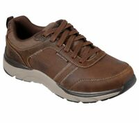 Skechers Brown shoes Men Memory Foam Sporty Casual Comfort Leather Oxford 66293