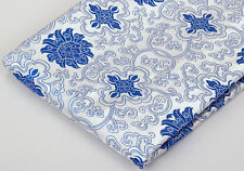 BY 2 YARDS TIBETAN DAMASK JACQUARD BROCADE FABRIC: LOTUS DORJE, BLUE & WHITE -