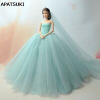 """Doll Dresses Clothes Wedding Dress For 11.5"""" Dol lLong Tail Evening Gown  +Veil"""