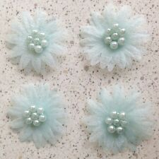 40 Organza Sheer Pearl Beaded Daisy Flower Appliques Sew Trim Bow Craft Blue