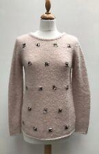 MINT VELVET Blush Pink Embellished Alpaca Wool Jumper - UK 10