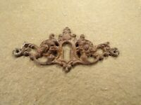 Antique / Vintage Keyhole Cover Escutcheon Plate French Design Cast Brass