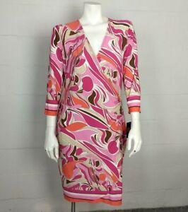 NWT Adrienne Vittadini Pink Swirl Wrap Dress Size L