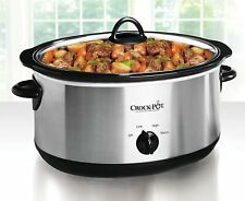 7-Quart Stainless Steel Oval Manual Slow Cooker
