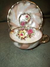 Norcrest Hand Painted Fine China Cup & Saucer Iridescent 3-Legged Cup